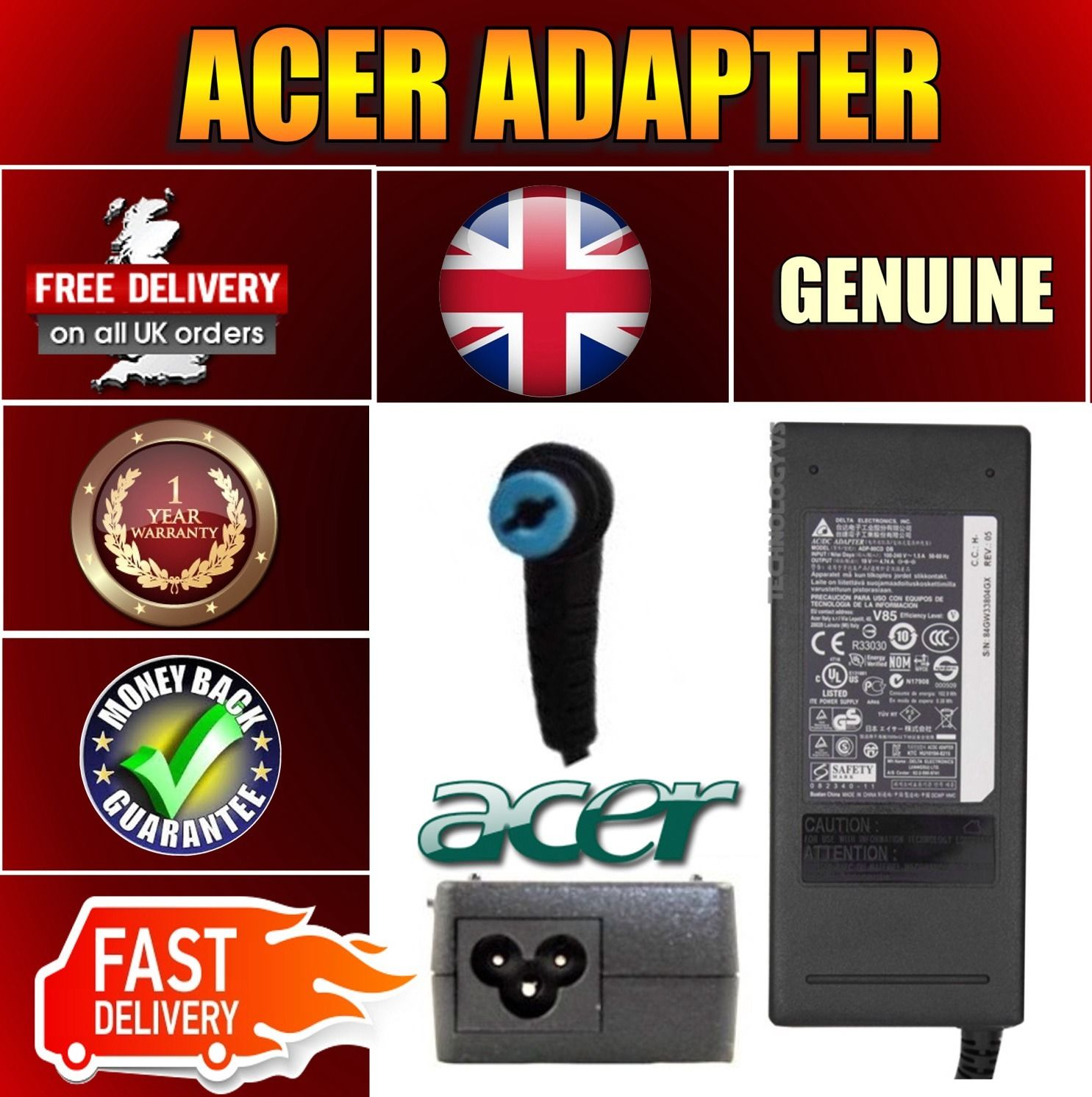 ACER Aspire V Nitro VN7-571G-77Q5 Sostituzione Adattatore Portatile Caricabatterie Alimentazione 90W